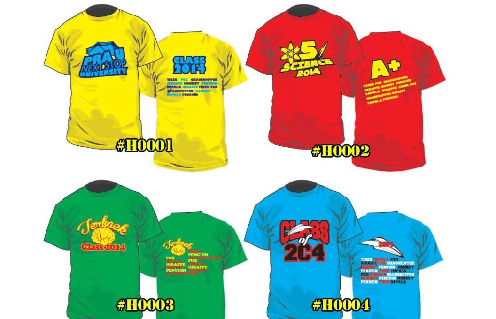 cetak baju kelas 0001 ke 0004